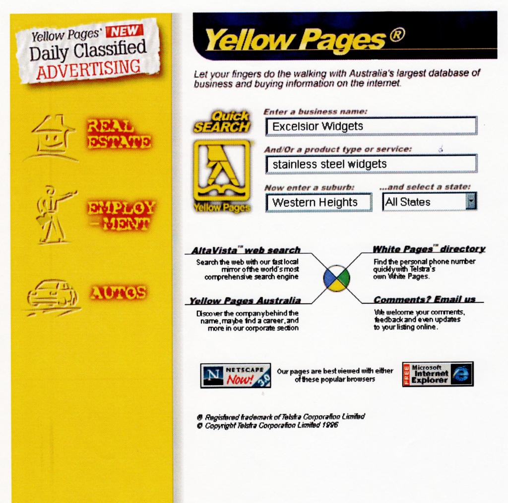 interface Concept - Yellow Pages Australia (1996)