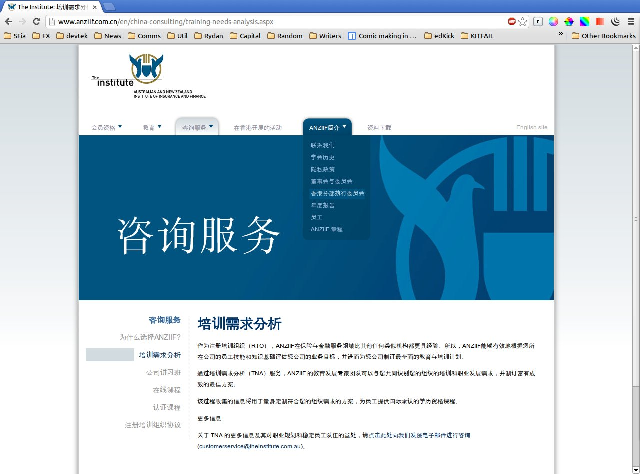 ANZIIF Chinese : Training Needs Analysis