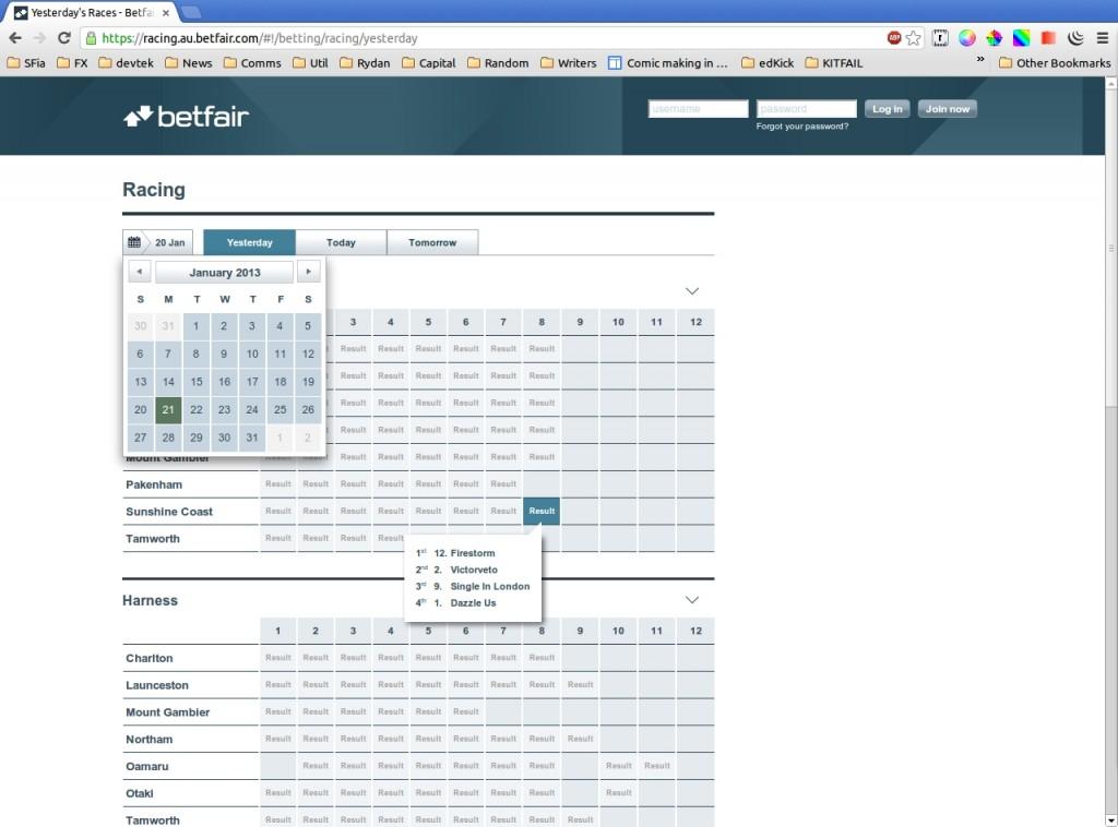 Betfair : Results and calendar