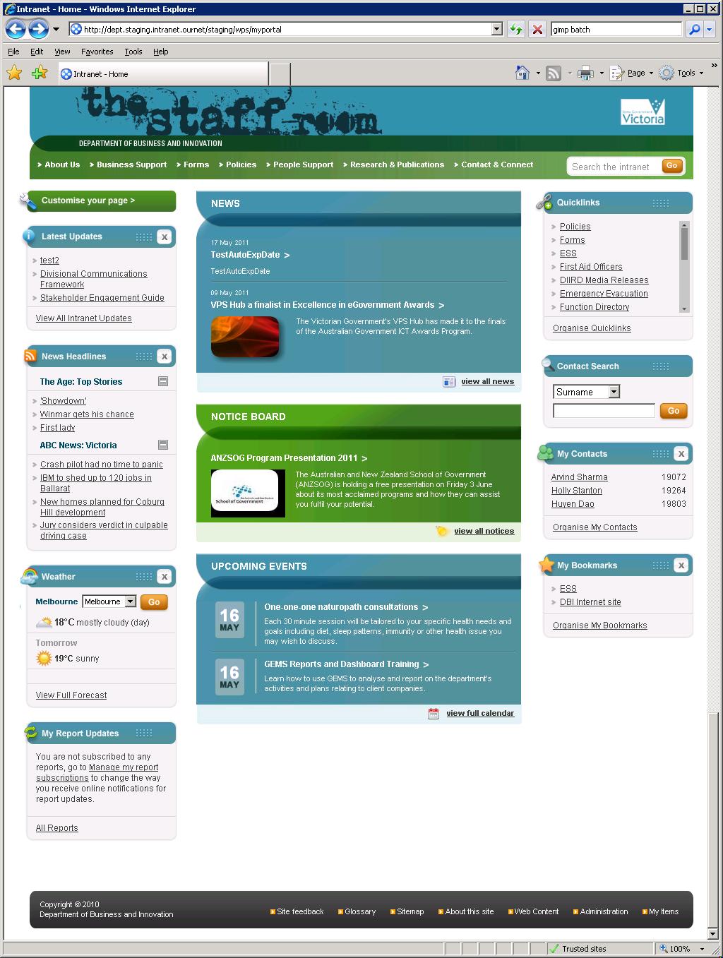 DBI Intranet : layout mods