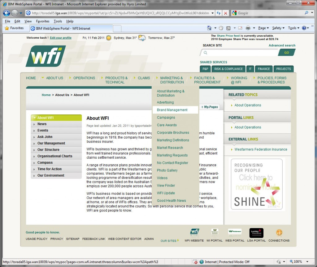 WFI intranet : inner pages