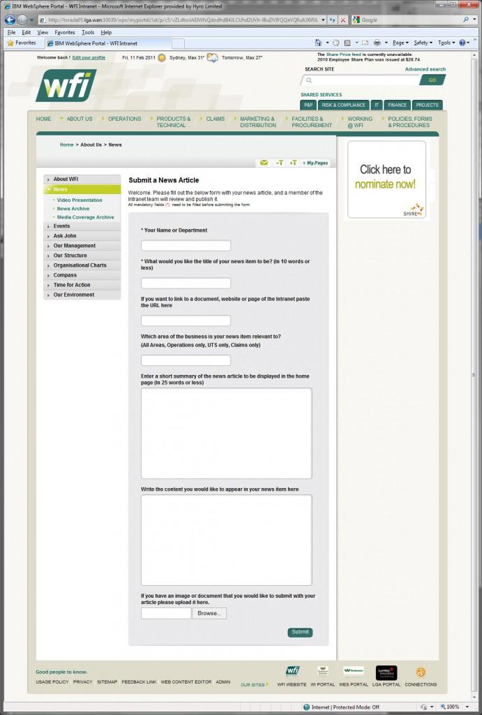 WFI intranet : CMS input